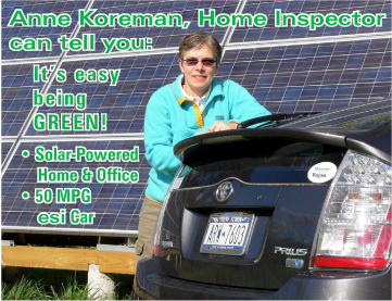 Anne with solar panels and Prius